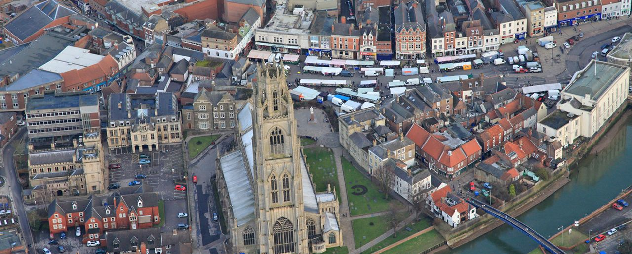 An aerial view of Boston market and Boston Stump