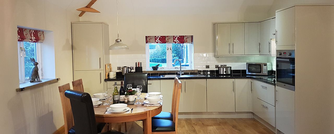 Stables cottage includes a large modern kitchen including microwave and oven for groups, friends and families.